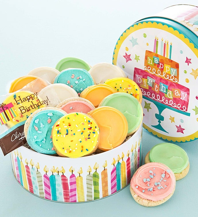 Birthday Tin 16 Frosted Cookies