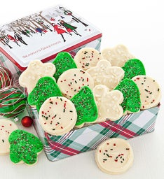 Holiday Cheer Gift Tin Seasons Greetings Cutout Cookies