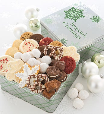 Elegant Holiday Gift Tin Treats - Seasons Greetings