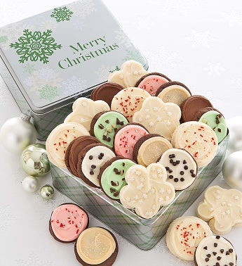 Elegant Holiday Gift Tin Frosted -  Merry Christmas