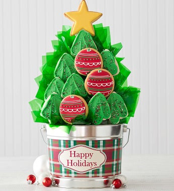 Christmas Tree Cookie Flower Pot - 12 Cookies