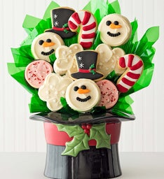 Ceramic Snowman Hat Cookie Flower Arrangement