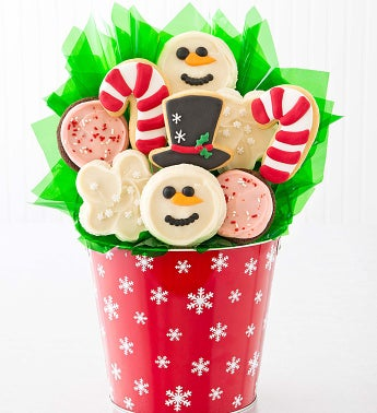 Let It Snow Holiday Cookie Flower Bouquet - 9 Cookies