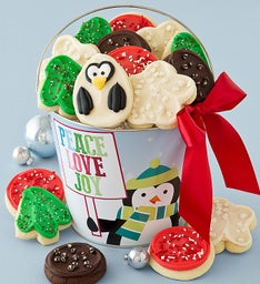 Holiday Peace Love Joy Frosted Cookie Pail