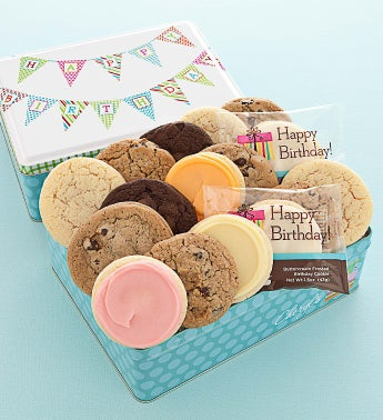 Happy Birthday Tin 16 Assorted Cookies