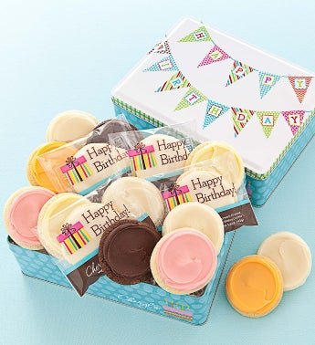 Happy Birthday Tin 16 Frosted Cookies
