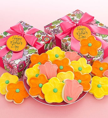 Spring Floral Cookie Box Cutout Cookies
