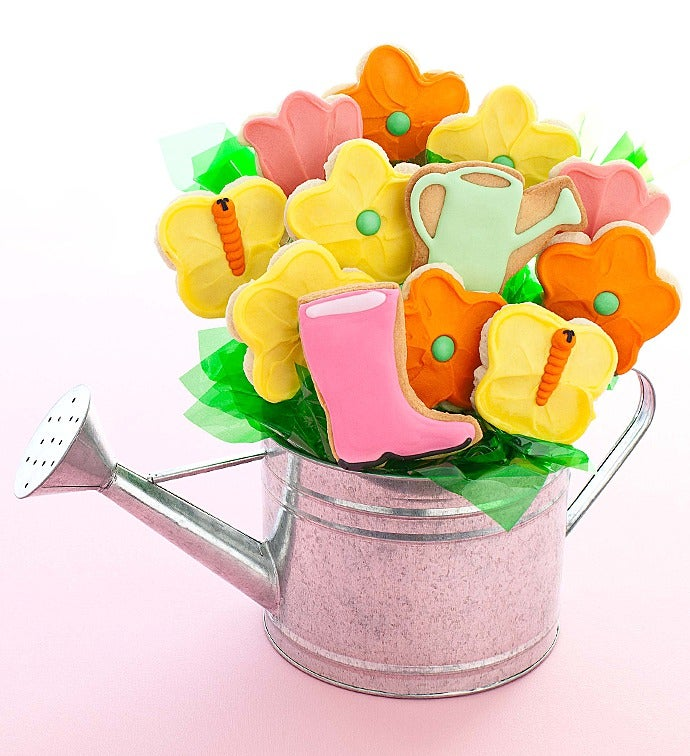 Mother\'s Day Watering Can Cookie Flowers
