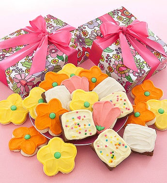 Floral Cookie Box Cookies and Brownies