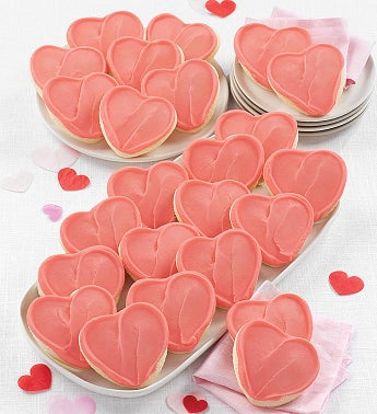 Frosted Pink Heart Cut-out Cookies