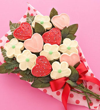 Heart and Flowers Long Stemmed Cookie Flowers