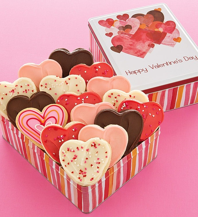Valentines Day Gift Tin 16 Cutout Cookies