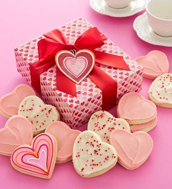 Valentines Day Cookie Box - Heart Cutout Cookies