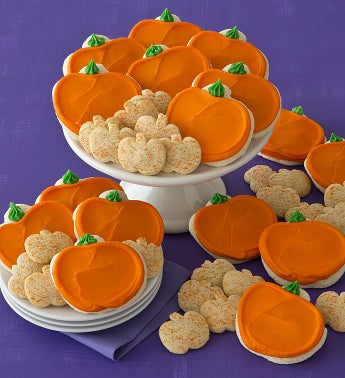 Buttercream Frosted Pumpkin Cutout Cookies with BONUS 50 Pumpkin Shortbread Cookies