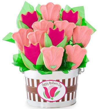 Happy Mothers Day Pink Tulip Flower Pot