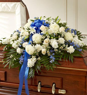 Cherished Memories Half Casket Cover-Blue White