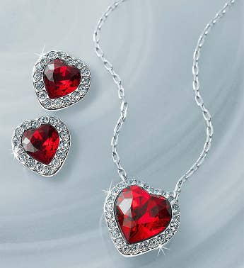 Swarovski® Crystal Red Heart Jewelry Set