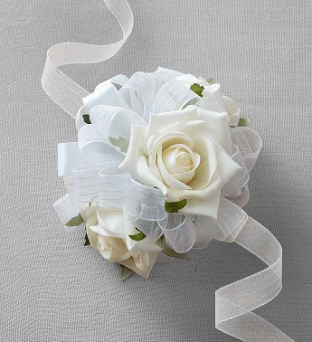 Keepsake White Corsage and Boutonniere