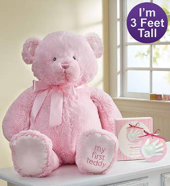 Pink My First Teddy by Gund® with Hand Print Kit