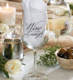 """Wine a Little, Laugh a Lot"" Wine Glass"