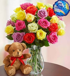 Get Well Soon Assorted Roses, 12-24 Stems