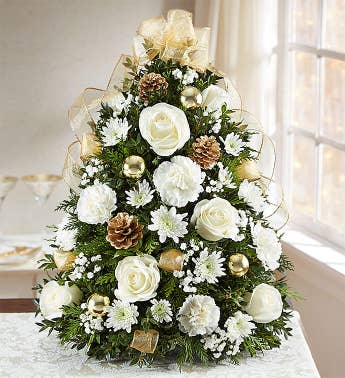 Glistening Gold Holiday Flower Tree