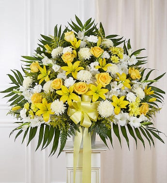Heartfelt Sympathies Standing Basket- Yellow