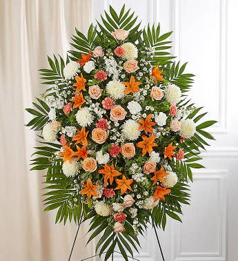Peach, Orange & White Sympathy Standing Spray