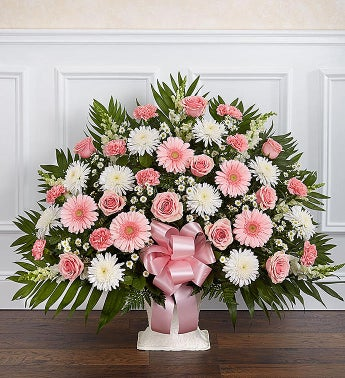 Heartfelt Tribute Floor Basket- Pink  White