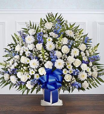 Heartfelt Tribute Floor Basket- Blue  White
