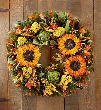 Preserved Autumn Sunflower Wreath  Centerpiece