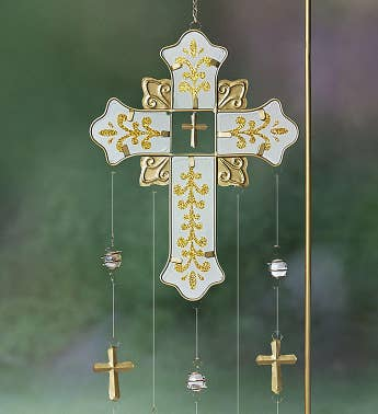 Graceful Glistening Cross Chime