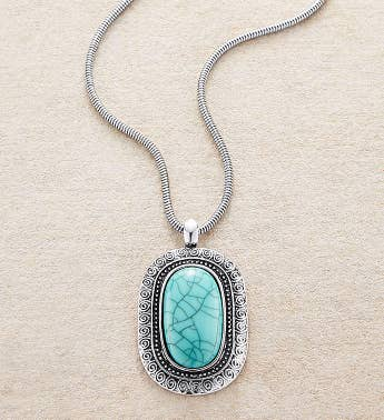 Silver Necklace With Oval Turquoise Medallion by Bayberry Road