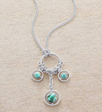 Matte Silver Necklace With Aqua Stones on Ring by Bayberry Road