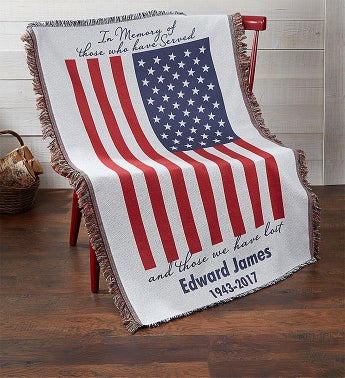 Personalized Patriotic Memorial Blanket