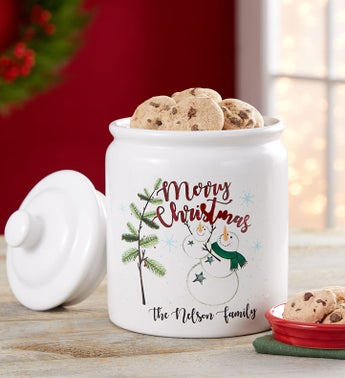 Personalized Holiday Snowman Cookie Jar and Cookies