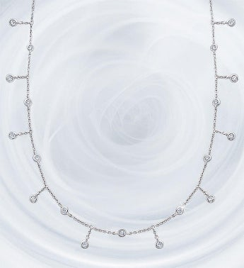 Crislu Adjustable Round Bezel Set Necklace-28""