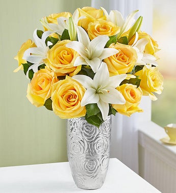 Fair Trade Certified Yellow Rose  White Lily