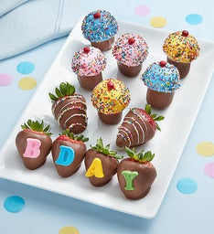 Dipped Birthday Strawberries and Mini Cupcakes