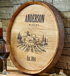 Personalized Vineyard Wine Barrel Sign