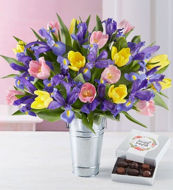 Deluxe Fanciful Spring Tulip  Iris Bouquet