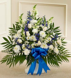 Tribute Blue & White Floor Basket Arrangement