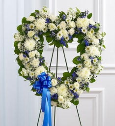 Always Remember™ Floral Heart Tribute- Blue & White