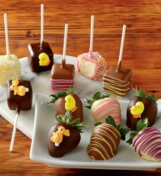 Easter Chocolate-Covered Strawberries and Cheesecake Pops
