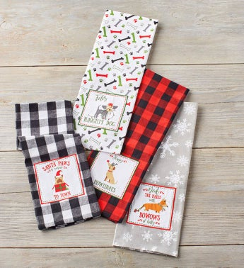 Holiday Dog Embellished Towels – Set of 4