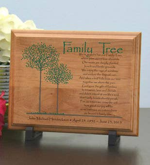 Family Tree Memorial Wood Plaque