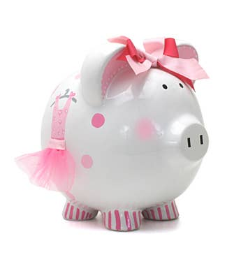 Personalized Hand-Painted Avas Tutu Piggy Bank