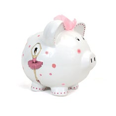 Personalized Hand-Painted Ballet Piggy Bank