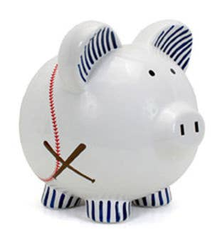 Personalized Hand-Painted Baseball Piggy Bank