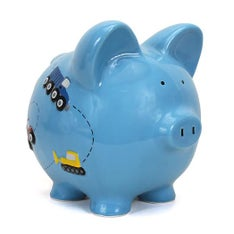 Personalized Hand-Painted Construction Piggy Bank